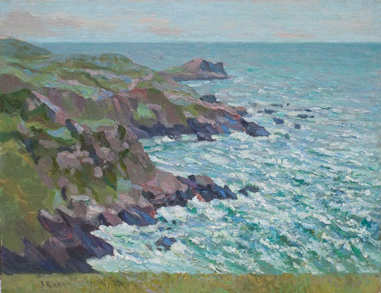 Rotskust Cornwall met storm.